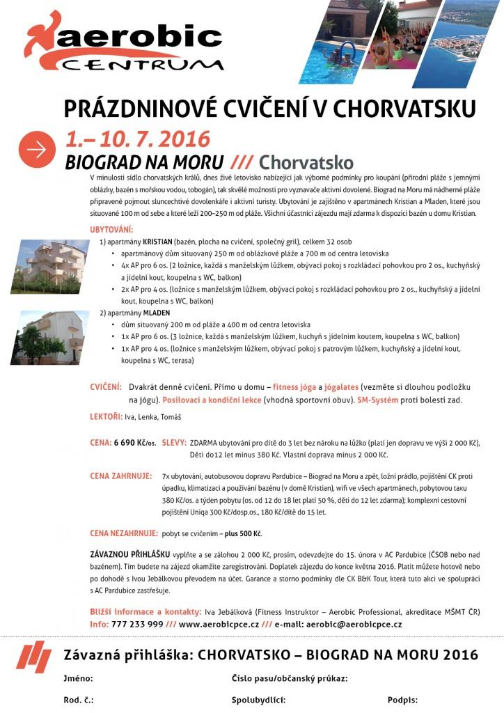 Prázdninové cvičení v Chorvatsku 2016
